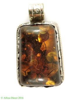 Tibetan Pendant Brass Repoussee Amber Color