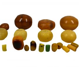 "23 ""Faux Amber"" Colored  Beads Africa Loose COOPER COLLECTION"
