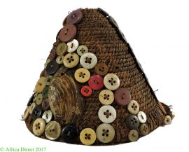 Cap Lega Buttons on Basketry Bwami Society Congo African Art