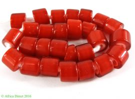 Whitehearts Red Trade Beads Flat End Czech Africa