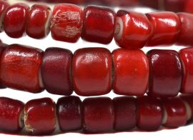 Red Whitehearts Old Cornaline Venetian Trade Beads Strand 30 Inch