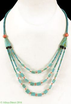 Necklace Silver and Turquoise Stone Beads Afghanistan 18 Inch