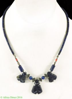 Necklace Silver and Lapis Stone Beads Afghanistan 18 Inch