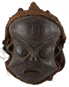 Pende Mask with Woven Hood Congo African Art