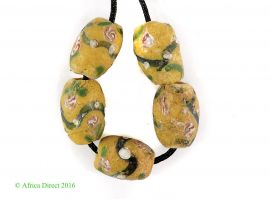 5 Venetian Trade Beads Yellow Floral Africa Loose