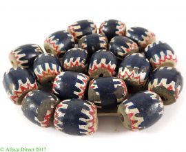 19 Painted Clay Beads Chevron Imitations Cameroon Africa Loose