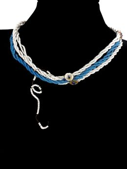 Xhosa Beaded Necklace Blue White South Africa Antique