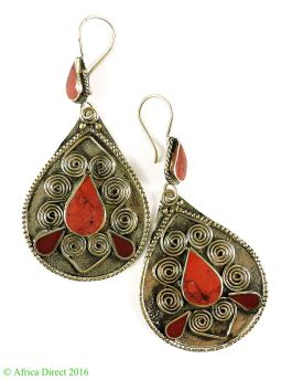 Earrings Silver Red Stone Insets Afghanistan