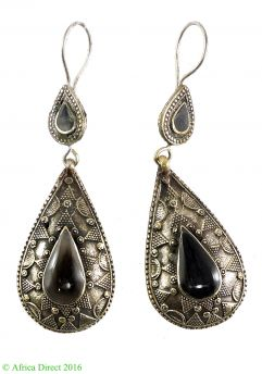 Earrings Silver Black Insets Afghanistan