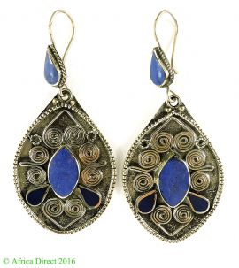 Earrings Silver Lapis Stone Insets Afghanistan