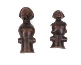 2 Chokwe Figural Whistles Flutes Congo African Art