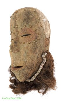 PRICE? Bete Mask with Studded Face and Beard Ivory Coast African Art