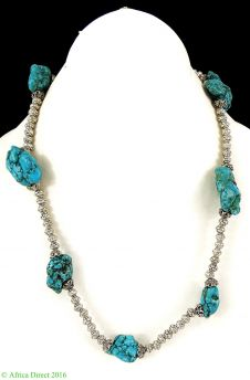 Tibetan Necklace Silver Repoussee Turquoise Stone Beads
