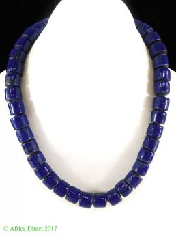 India Necklace Dark Blue Beads 18 Inch