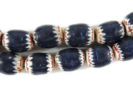 Painted Clay Beads Chevron Imitations Cameroon Africa 28 Inch