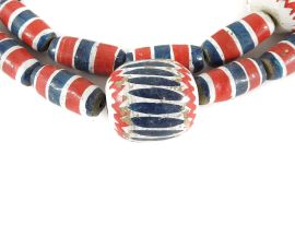 Painted Clay Beads Chevron Imitations Cameroon African 33 Inch