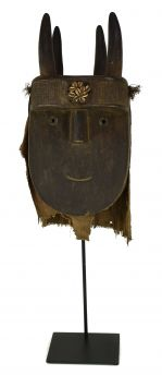 Loma Toma Horned Landai Mask on Stand Guinea African Art