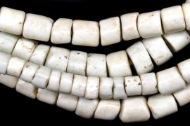 White Fat Goomba Porcelain Trade Beads African 24 Inch