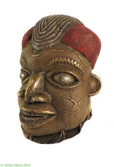 E PRICE? Bamun Helmet Mask Brass and Copper Cameroon African Art