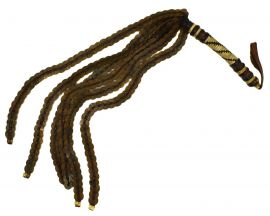 Hausa Flywhisk Leather Handle Nigerian 6 Coin Tassels African Art
