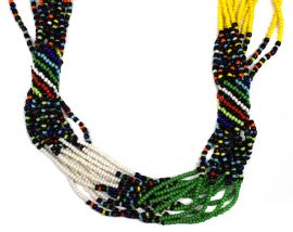 Zulu Necklace Seed Trade Beads White and Green South African