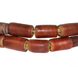 Cornaline d'Aleppo Venetian Trade Beads Cylinders African 27 Inch