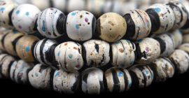 Venetian Trade Beads Black White Color Dots African 34 Inch