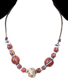 Necklace Seed Beads Black Red Africa 115132