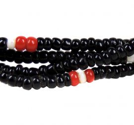 2 Strands Seed Trade Beads Black Red Africa 26 Inch