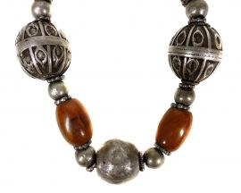 Yemeni Necklace Handmade Amber Color Silver Beads