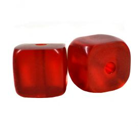 "2 ""Cherry Amber"" Colored Cube Beads Africa"