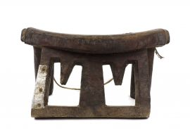 Dinka Headrest with Metal Studs South Sudan African Art