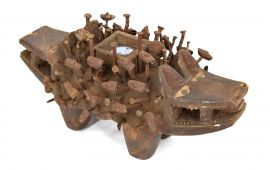 Yombe Figure Nkisi Kozo Two Headed Dog with Nails African Art