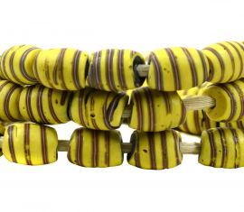Venetian Trade Beads Yellow Red Striped African