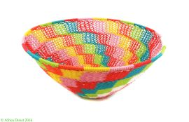Zulu Telephone Wire Basket Bowl Colors South African Art