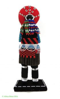 Zulu Beaded Doll with Red Headdress South African Art