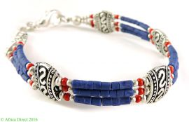 Tibetan Braclet Silver and Lapis Beads
