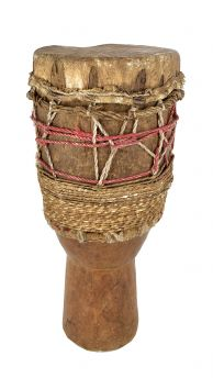 Fulani Wooden Drum Leather Guinea African Art