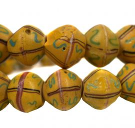 """King"" Krobo Beads Yellow Powder Glass Ghana Africa 32 Inch"