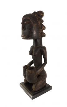 Luba Bowl Bearer Figure Congo on Stand African Art 21 Inch