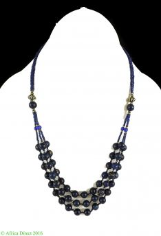 Necklace Blue Glass Beads Afghanistan