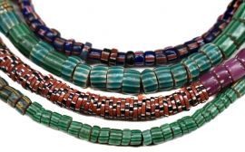 Aja Venetian Trade Beads Striped Slices Africa 35 Inch