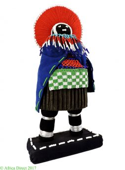 Doll  Zulu Beaded with Red Headdress South African Art