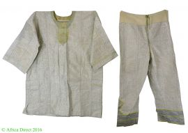 Hausa Grand Boubou Outfit Long Sleeve with Pants Nigeria African Art