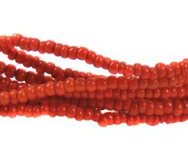 2 Strands Seed Trade Beads Red Tiny African