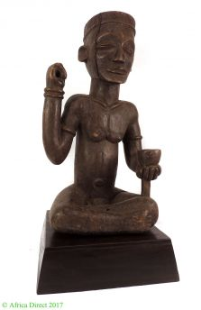 Chokwe Seated Male with Cup Figure Angola African Art 20 Inch