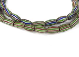 Rainbow Chevron Venetian Trade Beads Striped Melon Africa