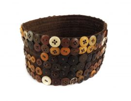 Lega Hat Buttons on Basketry Bwami Society Congo African Art