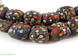 """Krobo Beads Blue Powder Glass """"Recycled"""" Africa Dots 35 Inch"""