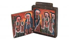 Ethiopian Coptic Icon Two Panels Painted Wood African Art